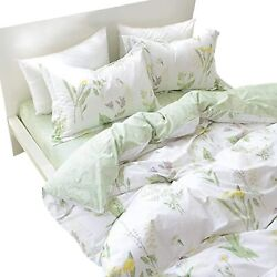 Fadfay Duvet Cover Set King 4-pcs Shabby Daisy And Lavender Flowers 100 Cotton