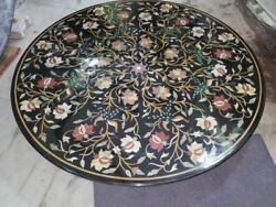 42'' Black Marble Table Top Coffee Center Fancy Inlay Mosaic Home Fancy