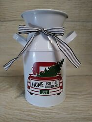 New Vintage Looking Tin Milk Can Christmas Tree Truck Farmhouse Decor Country