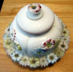 Consolidated Milk Glass Butter Dish In Cosmos Pattern