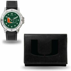 New Miami Hurricanes Men's Black Watch And Wallet Set Licensed