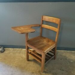 Beautiful Vintage Student Solid Wood School Desk And Attached Chair Antique