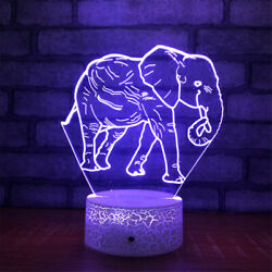 Elephant 3d Illusion Led Lamp Touch Switch Table Desk Night Light Kids Gift