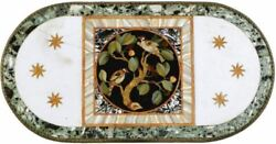 4and039x2and039 White Center Coffee Marble Table Top Inlay Malachite Home Decor C13