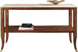 Console Port Eliot French Marble Top Gold Mahogany Brass Shelf Streamlined