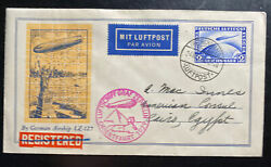 1929 Germany Graf Zeppelin Lz 127 Orient Flight Cover To Cairo Egypt C36