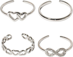925 Sterling Solid Silver Adjustable Mixed Design Open Toe Ring Rings Finger Set
