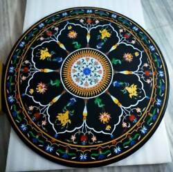 42 Dining Marble Black Top Table Marquetry Inlay Collectible Decorative Art