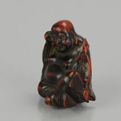 Antique Lacquer Or Ceramic Netsuke Hotei With Fan 19th C Japanese Japan...