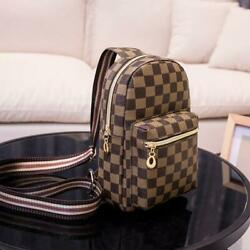 Checkered Leather Backpack Small Women#x27;s Chest Pack Shoulder Crossbody Handbags $34.99