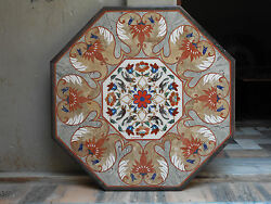 3and039 Octagon Coffee Table Marble Inlay Dining Center Corner Lunch Mosaic Work