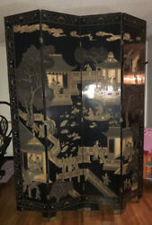 Antique Asian Lacquer Painted 7ft Room Divider Screen 1900's Heavy Pickup Only