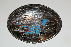 Vintage Hand Crafted Sst 1988 Roadrunner Turquoise And Coral Belt Buckle Vgc