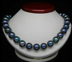 9-10mm Aaa+ Tahitian Natural South Sea Black Pearl Necklace 14k 18 Inch