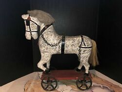Antique Hand Carved English Horse With Cast Iron Wheels, With Chains On Horse