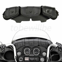 3 Pocket Windshield Fairing Pouch Bag Fit For Harley Touring Electra Glide 96-13