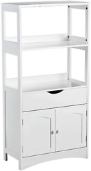 Free Standing Bathroom Cabinet Storage Cabinet w Door Drawer amp; 2 Open Shelves