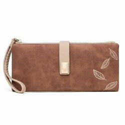Wallet Women Big Capacity Long Leather Carved Leaves Phone Clutch Cards Holder $16.18