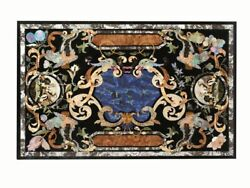 4and039x2.5and039 Black Marble Table Top Pietra Dura Inlay Handmade Craft Home Decor