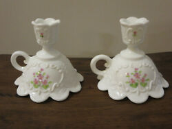 Milk Glass Finger Ring 2 Candle Holders Hand Painted Violets Signed By Vicki F