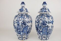 Large Pair Blue And White Chinoiserie Dutch Delft Faiance Jars, 46 Cm / 18.4in