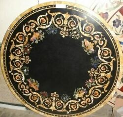 3and039x3and039 Black Marble Table Top Coffee Dining Inlay Lapis Mosaic Home Decor G614