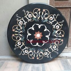 3' Marble Coffee Malachite Corner Table Top Dining Side Round Use Inlay D101