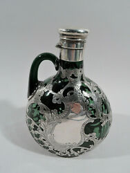 Gorham Decanter - S814 - Antique Jug - American Green Glass Silver Overlay
