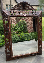 Antique French Mirror Carved Oak Beveled Acanthus Cartouche Framed Rectangular