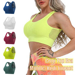 Womens Padded Sports Bra Yoga Crop Tops Ladies Fitness Tank Gym Workout Vest