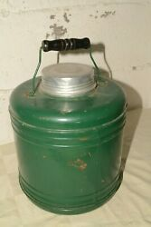 Antique Stoneware Lined Steel Bail Handle Camping Camp Water Jug Cooler Crock
