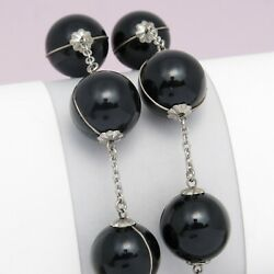 Vintage 1920's Art Deco Sterling Silver Pools Of Night Glass Orb Light Necklace