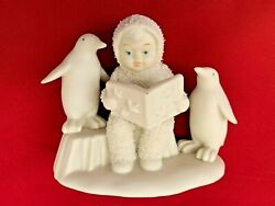 White 3x4.5 Department 56 Snowbabies Angel W Book And Penguin Figurine