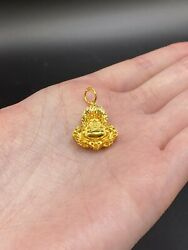 24k Solid Yellow Gold Small 3d Happy Laughing Buddha Pendant 5.5 Gram