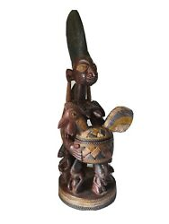 Outstanding African Yoruba Wood Figural Offering Bowl. Classic Example. Nigeria.