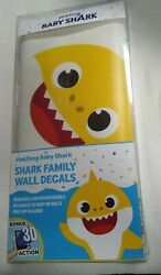🦈New In Package Pinkfong Baby Shark Family Wall Decals with 3D Action *So Cute*