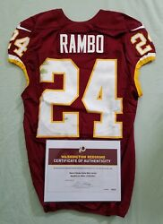 24 Bacarri Rambo Of Redskins Nfl Game Worn And Unwashed Jersey Vs. 49ers Wcoa