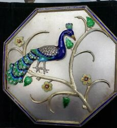 Decorative Utilitarian Sterling Silver Box With Enameled Peacock And Flowers