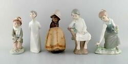 Lladro, Nao And Zaphir, Spain. Five Porcelain Figurines Of Children. 1980 / 90's