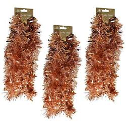 Christmas Chunky Tinsel Tree Room Decoration 3 Lengths 2 Metre Rose Gold