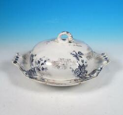 Wedgwood China Antique Celia Blue W/ Gold Aesthetic Transferware Cvd Butter Dish