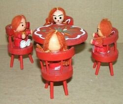 Vtg 9 Pc. Small Hand Painted Wooden Dolls W/ Yarn Hair And Chair / Table Set