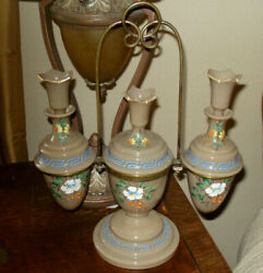 Antique Bristol Chocolate Glass Cologne Sethand-painted And Set In Brass Bracket