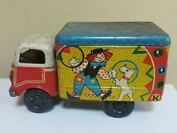Vintage Circus Truck Wind Up 60s Tin Metal Toy Ussr Soviet Era Russia Cccp Works