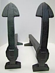 Antique Arts And Crafts Cast Iron Andirons Arrow Anchor Decorative Arts Fire Dogs