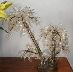 Exquisite Large Art Deco Bronze And Glass Palm Tree Table Centerpiece
