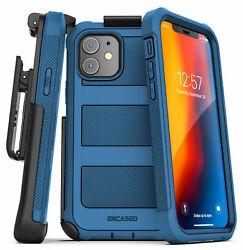Iphone 12 Mini Case W/ Built-in Screen Protector And Belt Clip Holster - Blue
