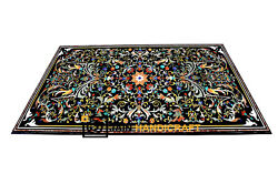 52''x32'' Antique Black Marble Dining Coffee Table Top Inlay Pietra Dura