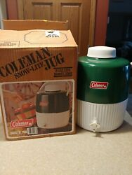 Vintage Coleman Snow Lite 2 Gallon Jug Green White In Org Box Water Cooler