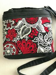 Canvas Crossbody Over the Shoulder Purse Bag Handbag Handmade in USA Black Red $40.00